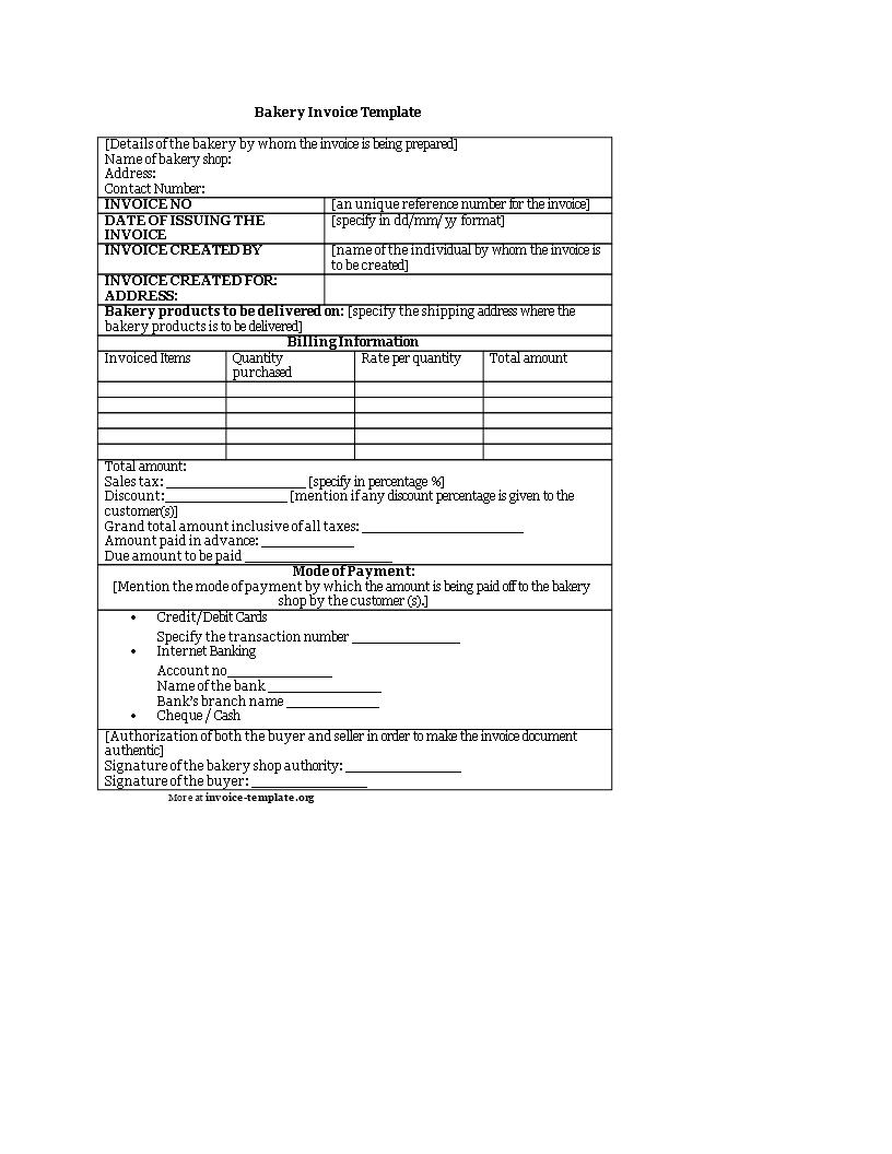 Free Printable Bakery Invoice Templates At Allbusinesstemplates