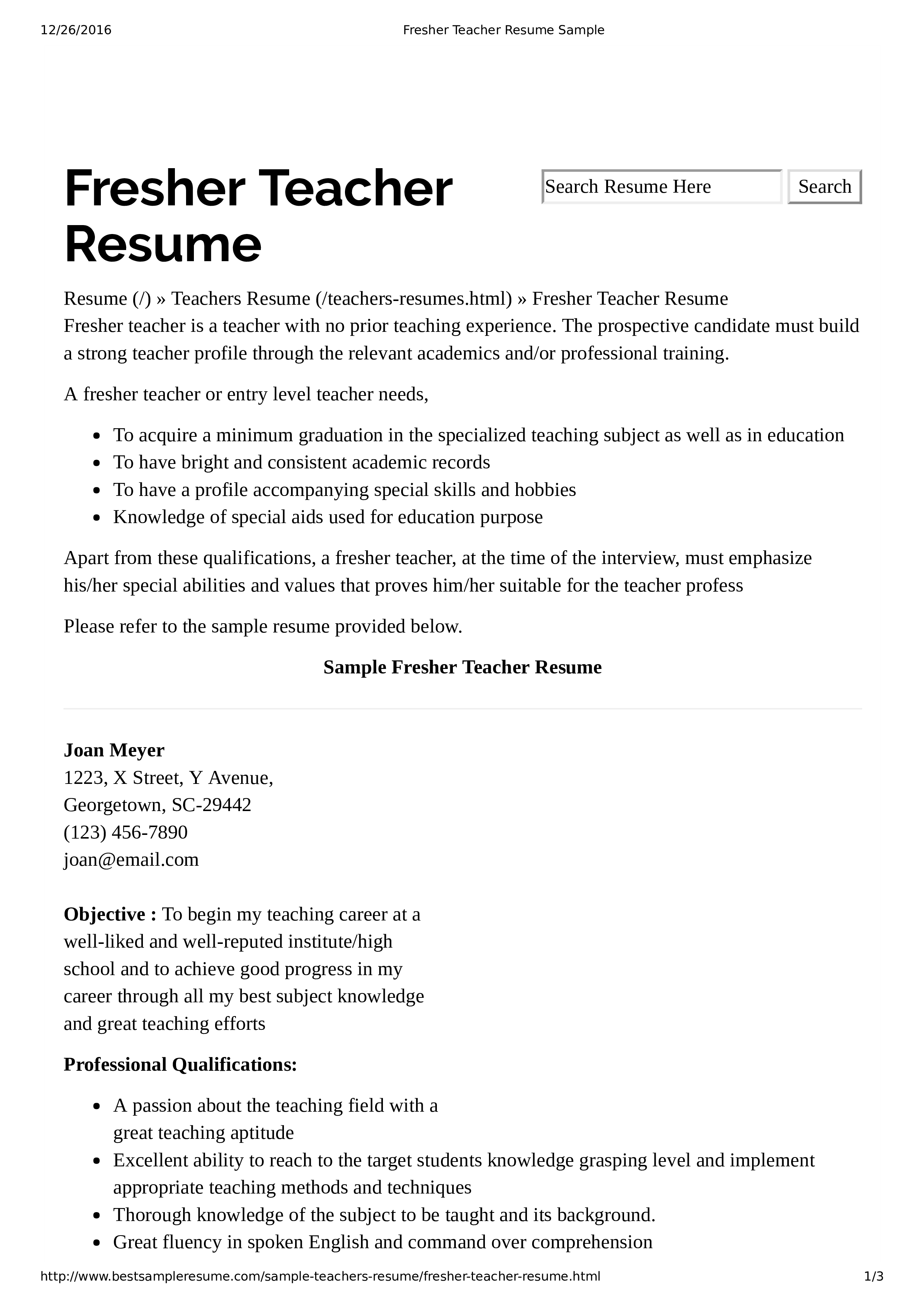 Preschool Teacher Resume With No Experience main image