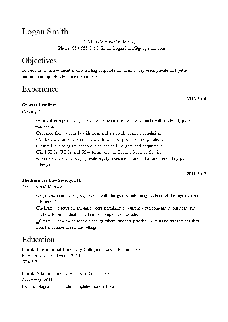 Free Corporate Attorney Resume Sample Templates At