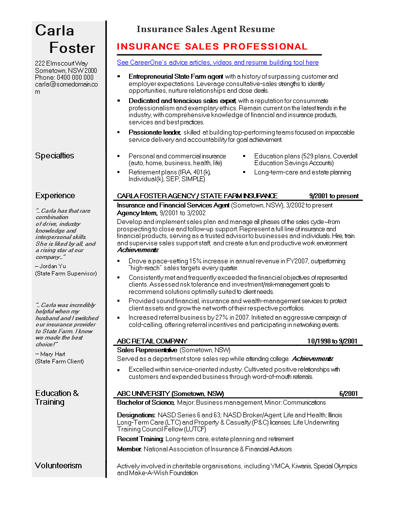 Insurance Sales Agent Resume | Templates at ...