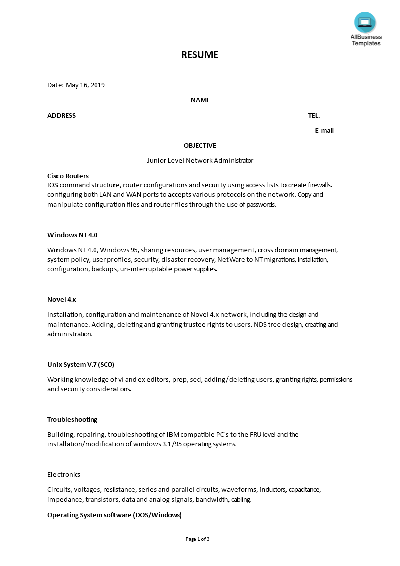 Junior Network Administrator Skills Resume Main Image Download Template