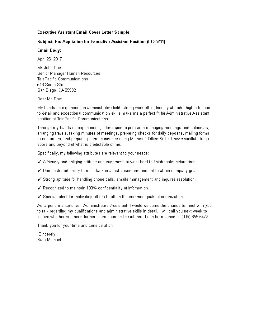 Free Executive Assistant Application Cover Letter By E Mail