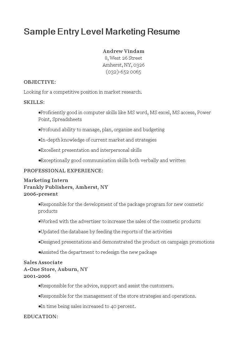 free sample entry level marketing resume templates at