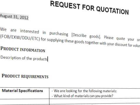 Request For Quotation Trading Business Template  Templates At