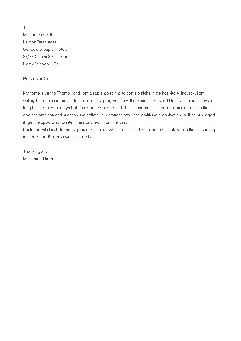 Hospitality Internship Cover Letter Templates At Allbusinesstemplates Com