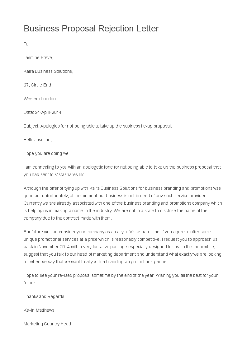 Rejection Letter for a Business Proposal main image