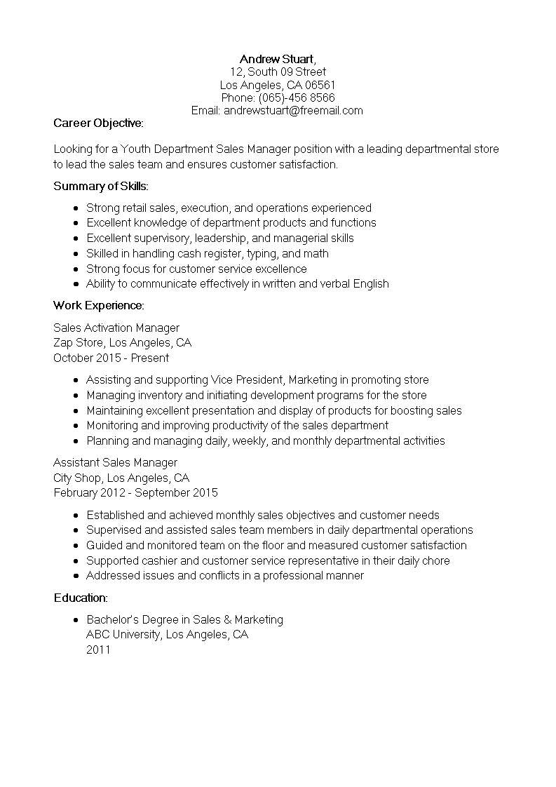 Department Sales Manager Resume Templates At