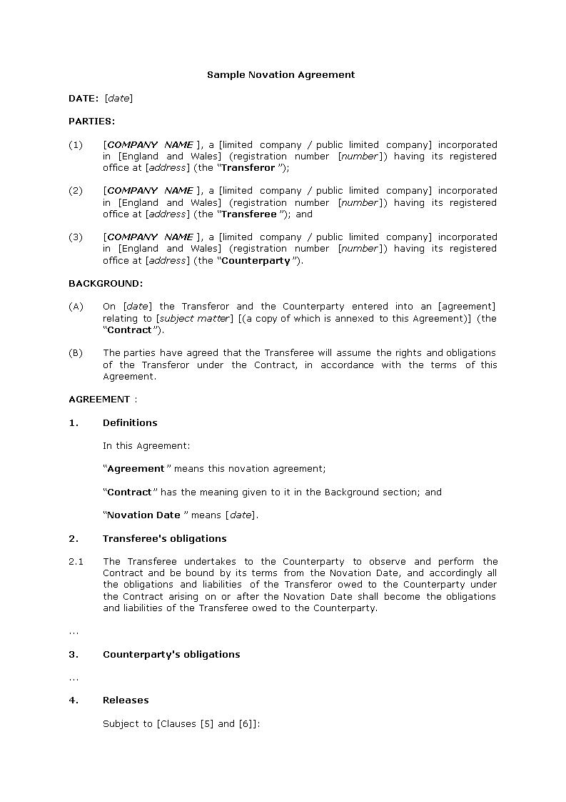 Novation agreement sample – Novation Agreement