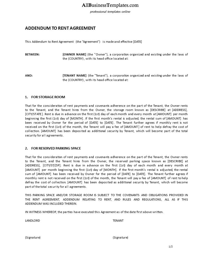 Free Addendum To Rent Agreement Templates At Allbusinesstemplates