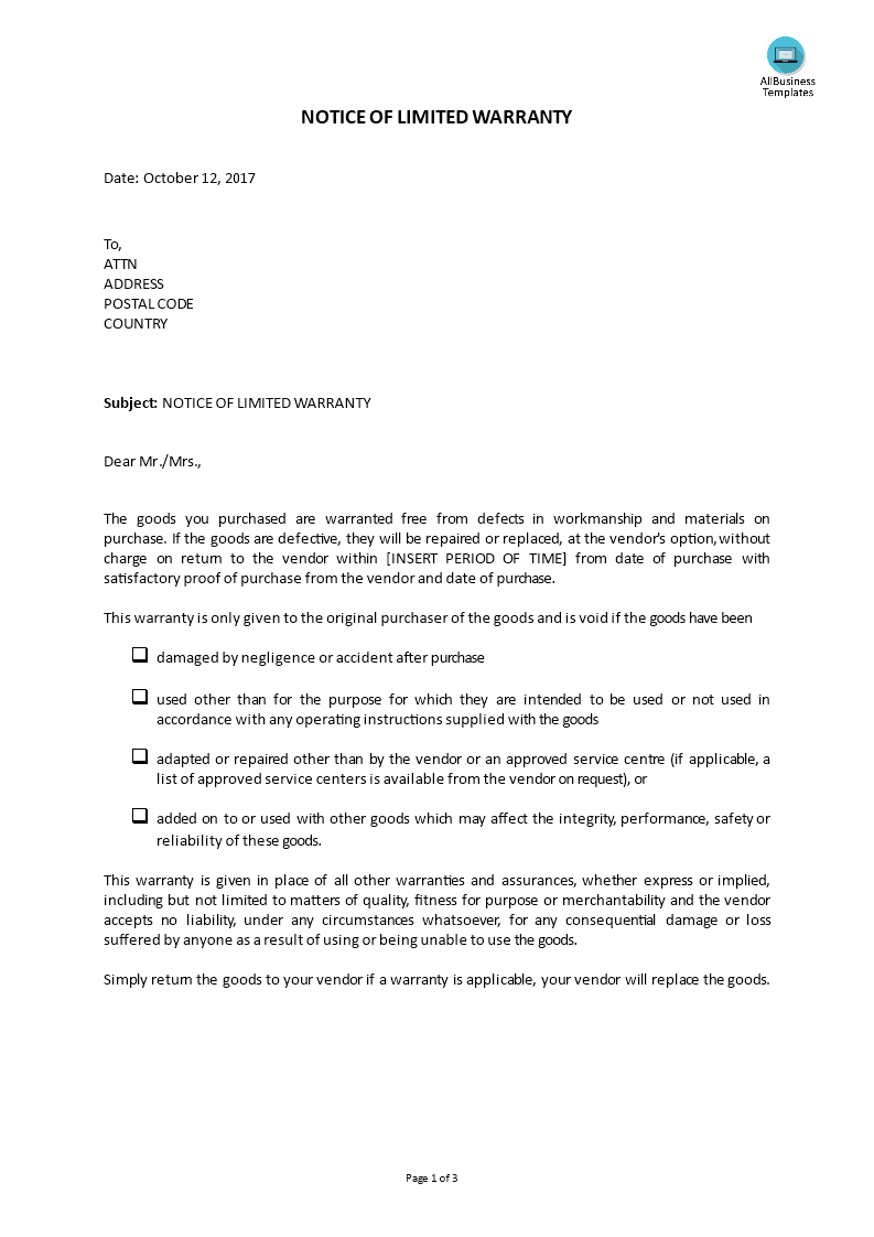 Customer Service - Reply Notice Of Limited Warranty | Templates at ...