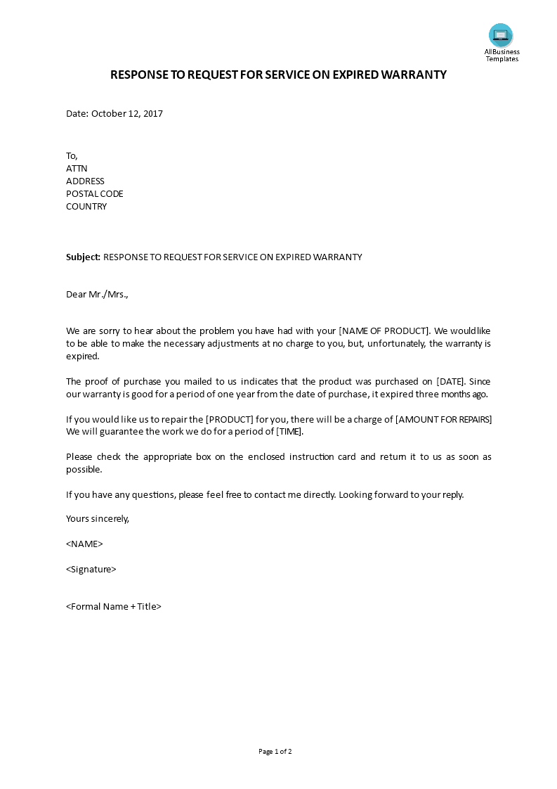 Customer service response to request for service on for Customer response letter templates