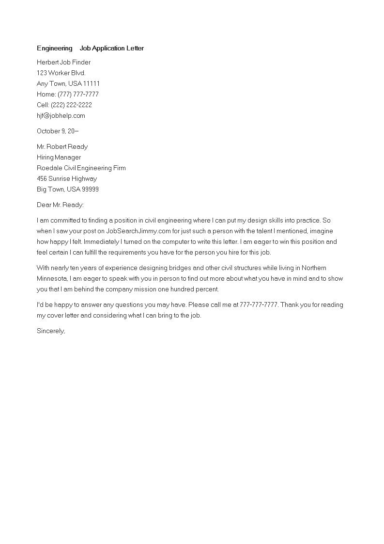 Engineering Job Application Letter Templates At Allbusinesstemplates Com