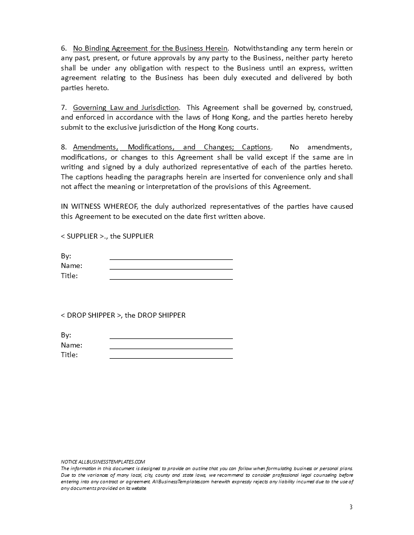 Confidentiality Agreement drop shipping retailer | Templates at ...