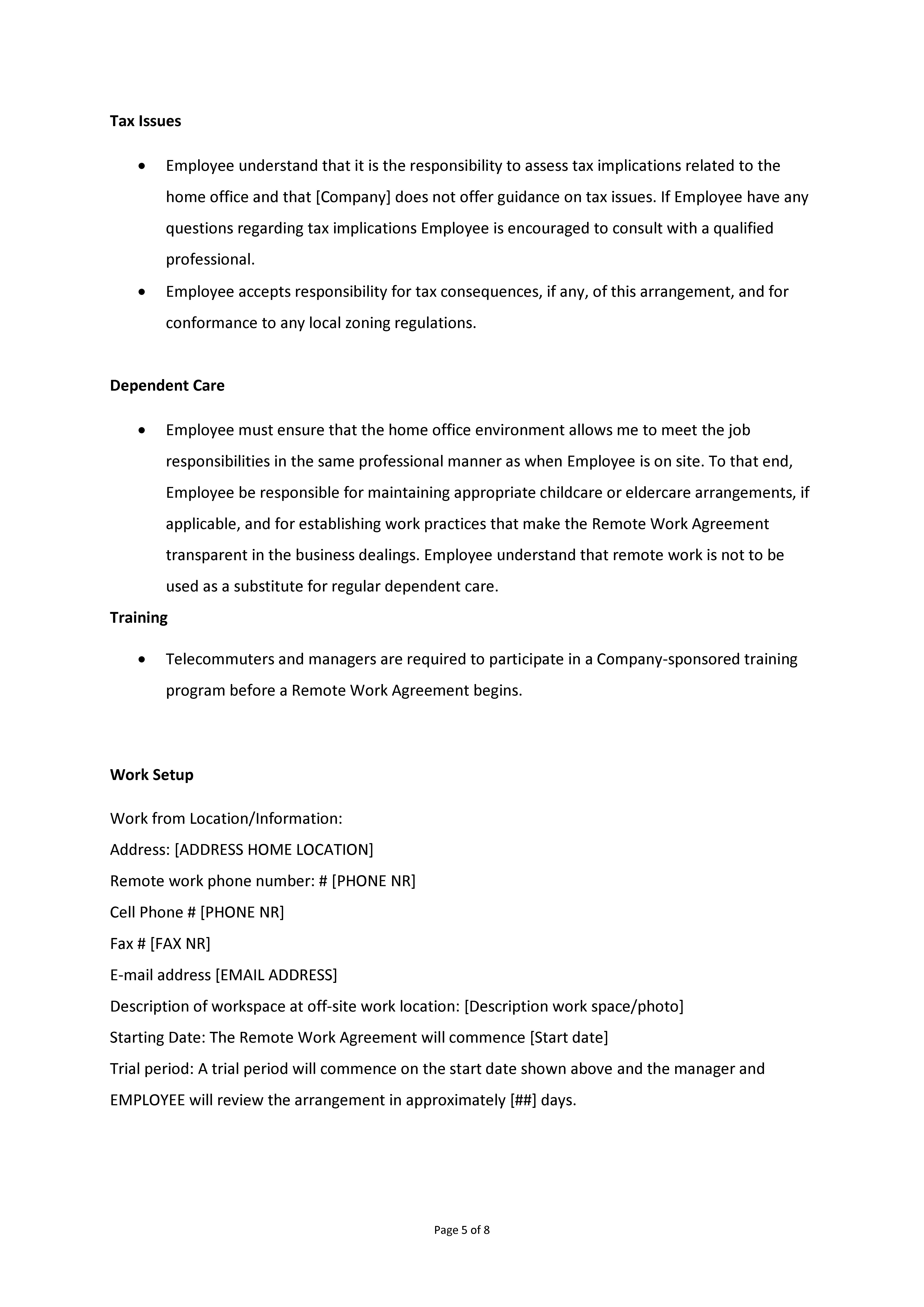 Remote Work Agreement Premium Schablone