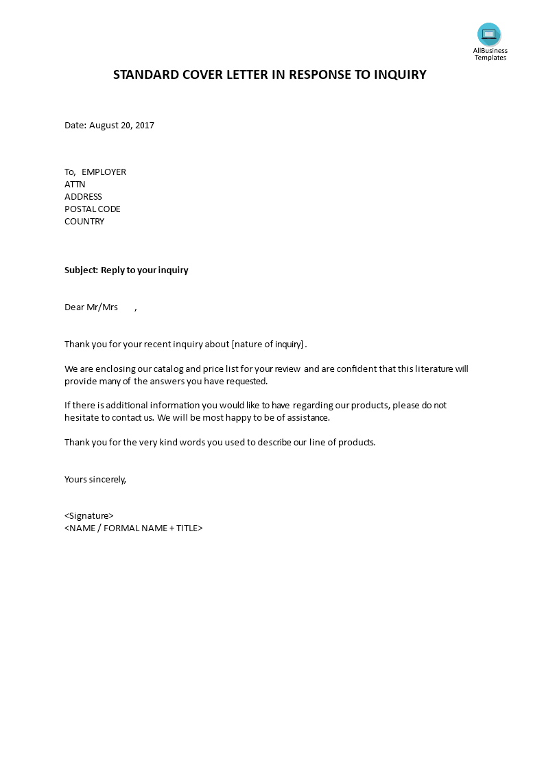 Standard cover letter in response to inquiry Templates at