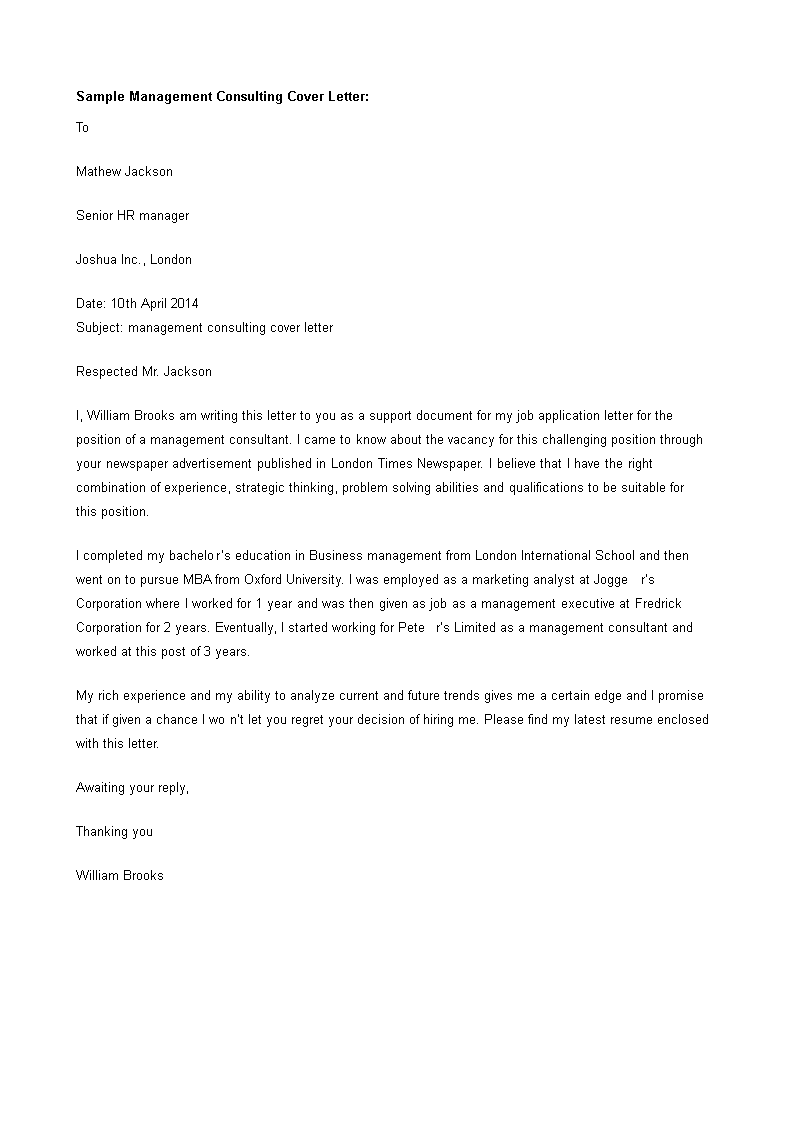 Management Consultant Cover Letter template | Templates at ...