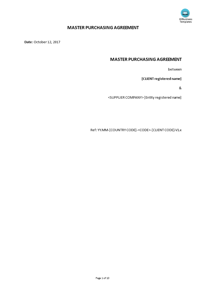 Master Procurement Agreement Template Templates At