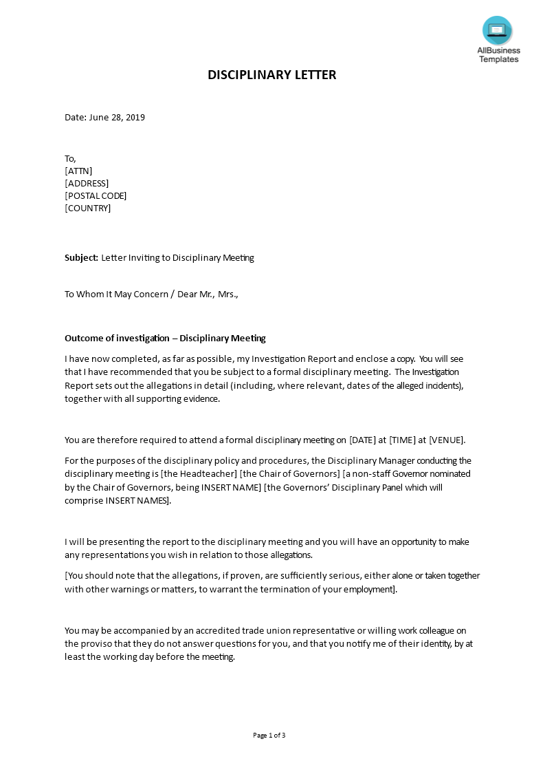 Sample Letter Inviting to Disciplinary Meeting  Templates at With Investigation Report Template Disciplinary Hearing