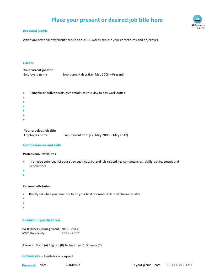 single page cv modern style