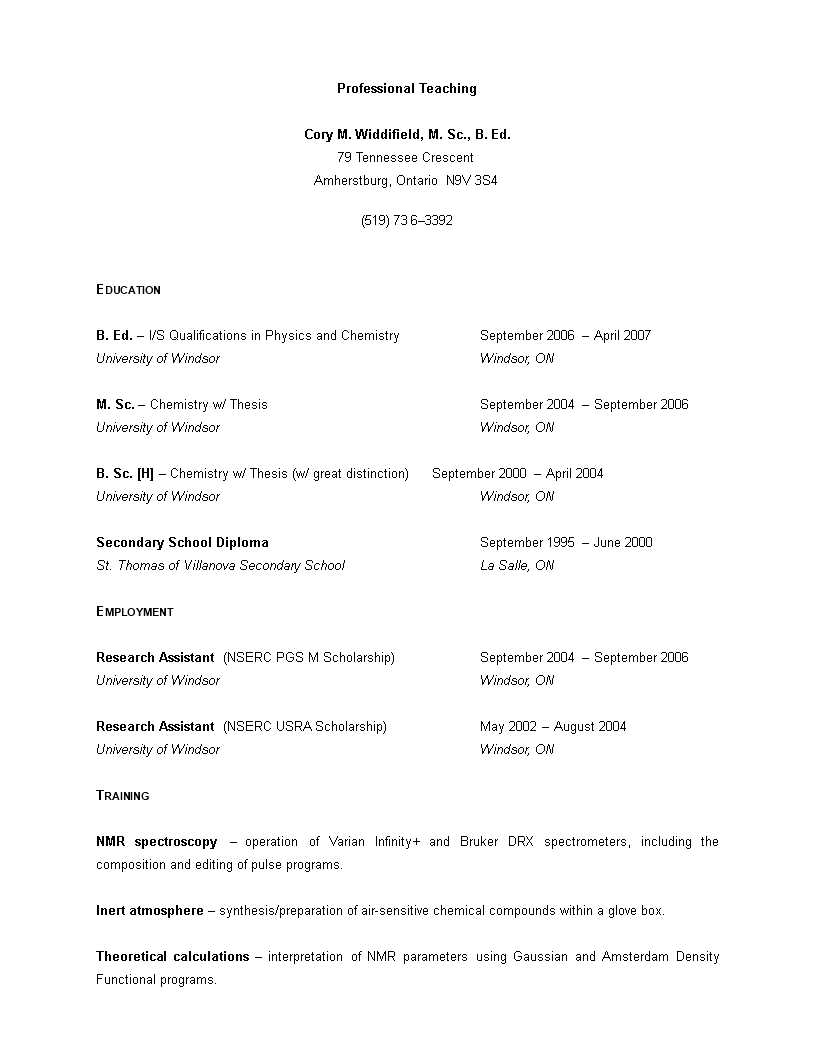 free professional teaching curriculum vitae templates at