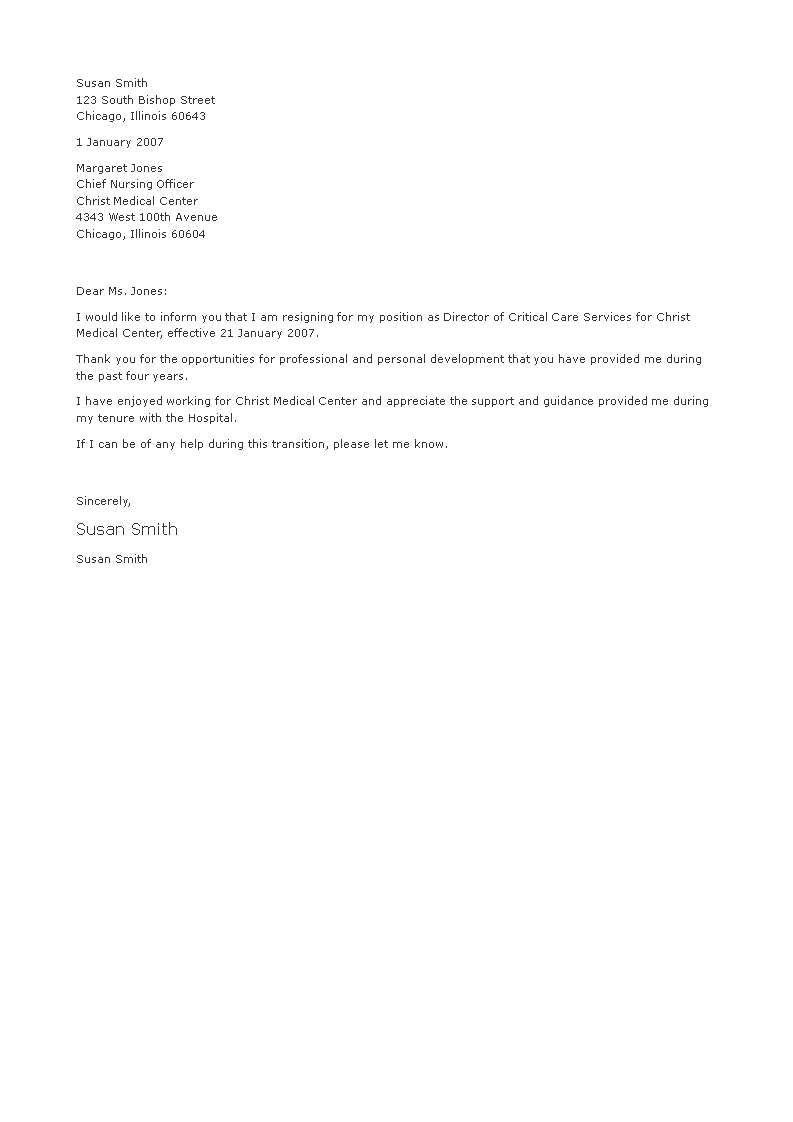 Free Sample Medical Resignation Letter | Templates at ...