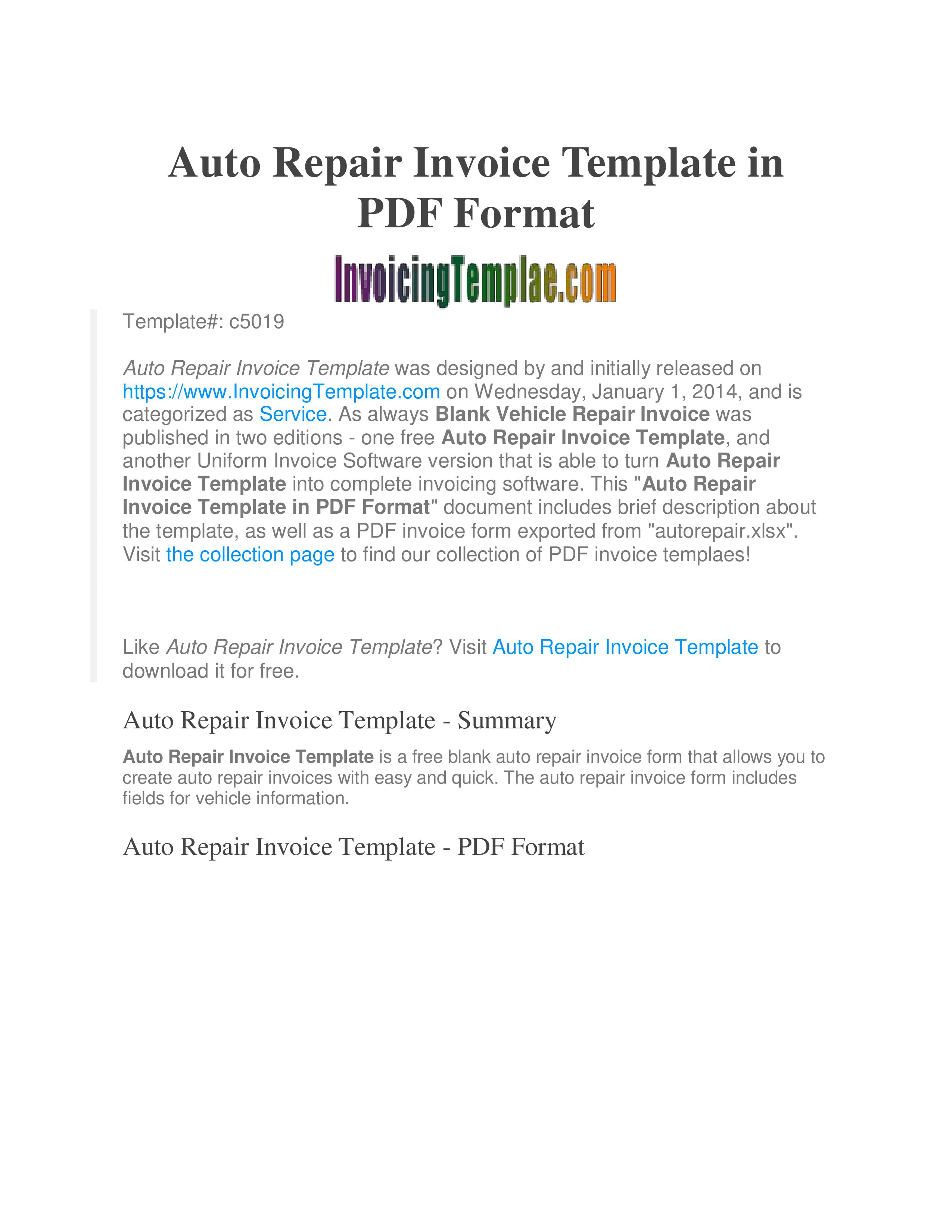 Free Printable Auto Repair Invoice Templates At
