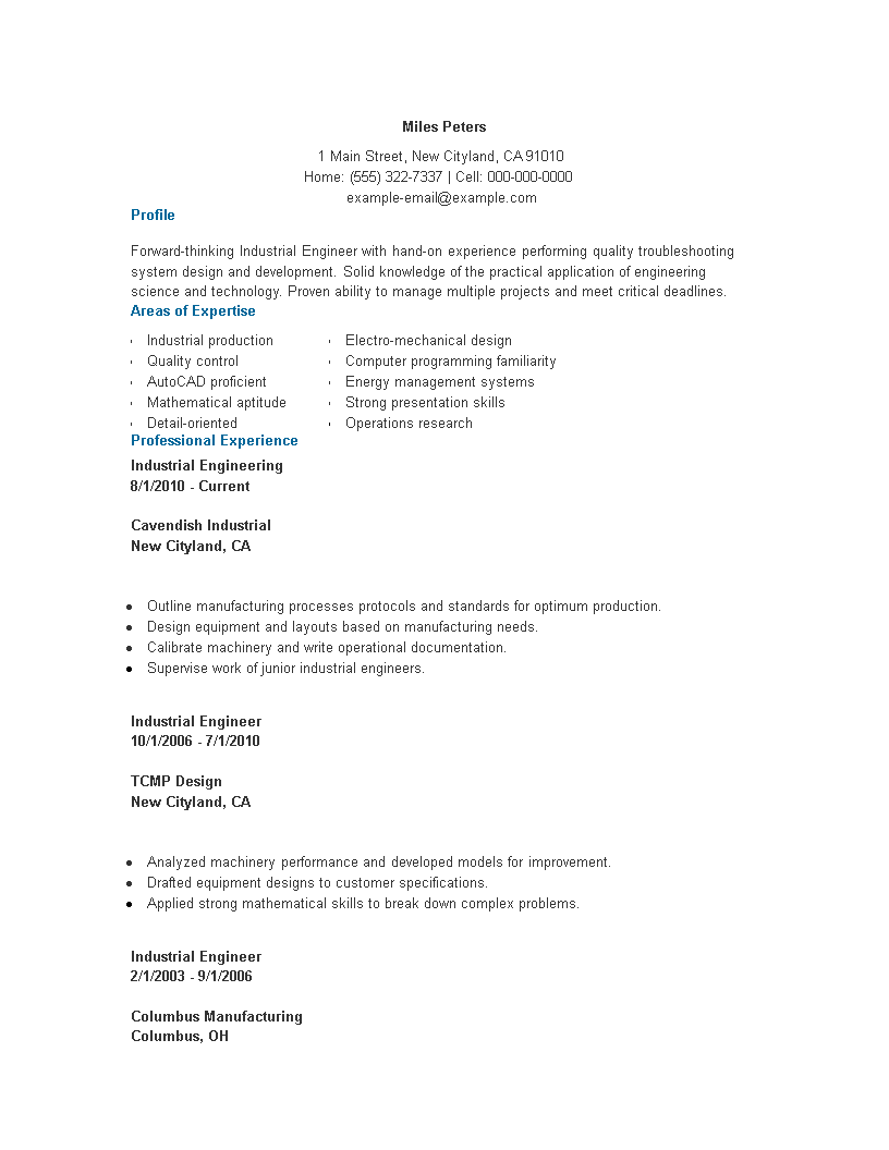 industrial engineering resume word main image
