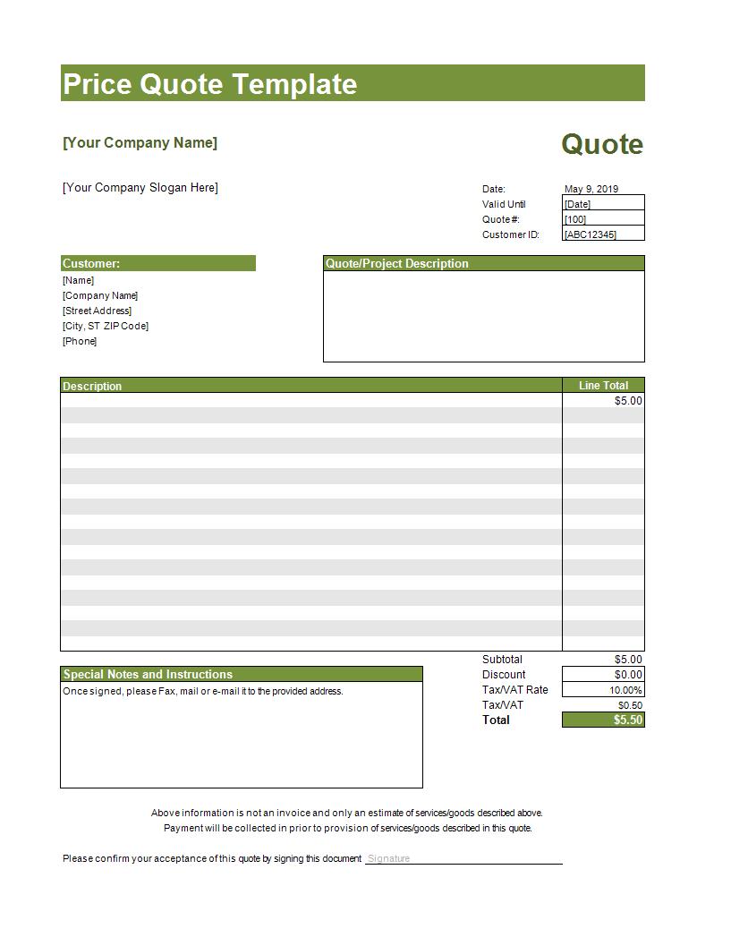 Quote Template Excel Spreadsheet Templates At Allbusinesstemplates Com
