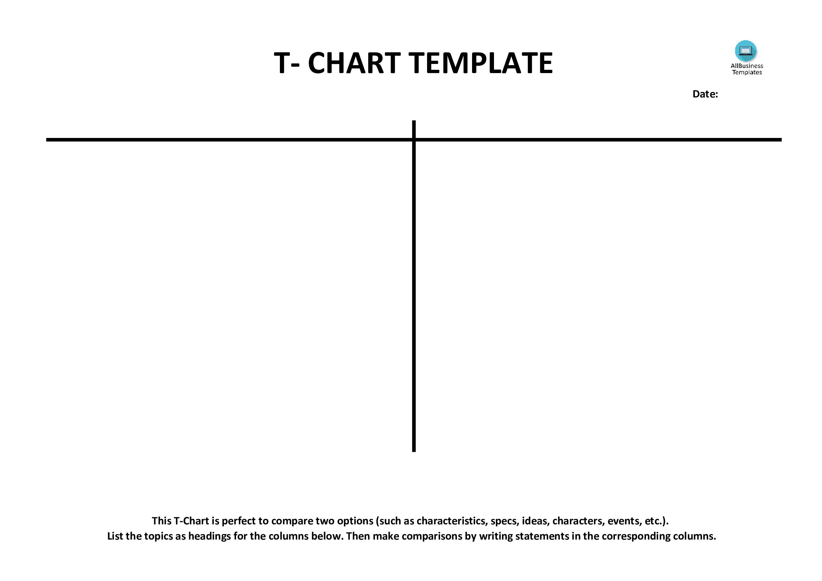 free t-chart example (blank) | templates at allbusinesstemplates