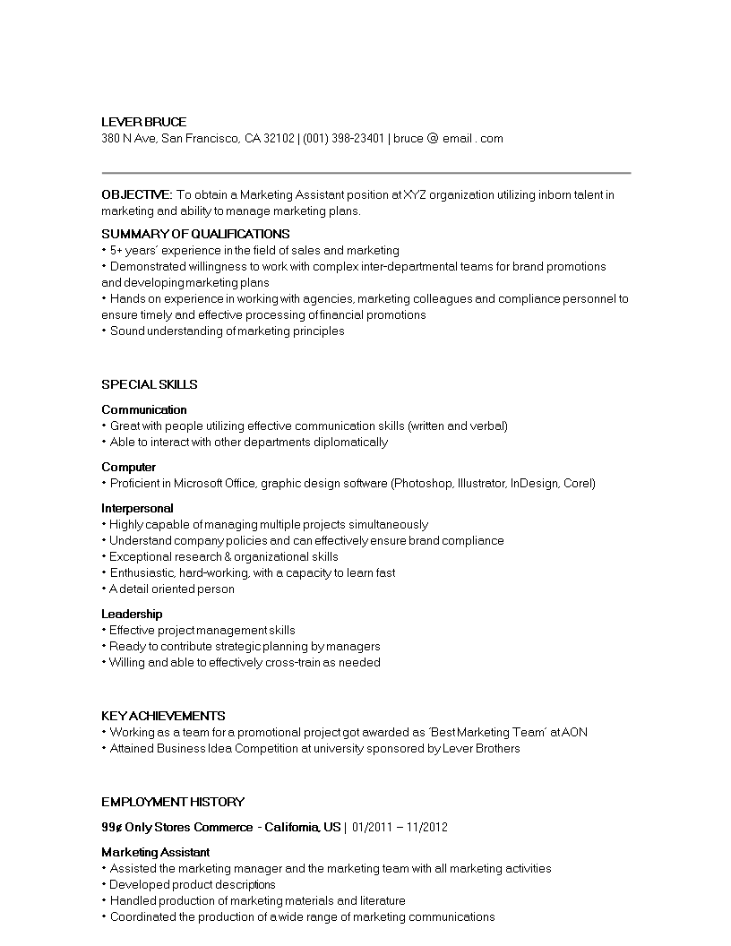 Free Marketing Executive Assistant Resume Sample Templates At