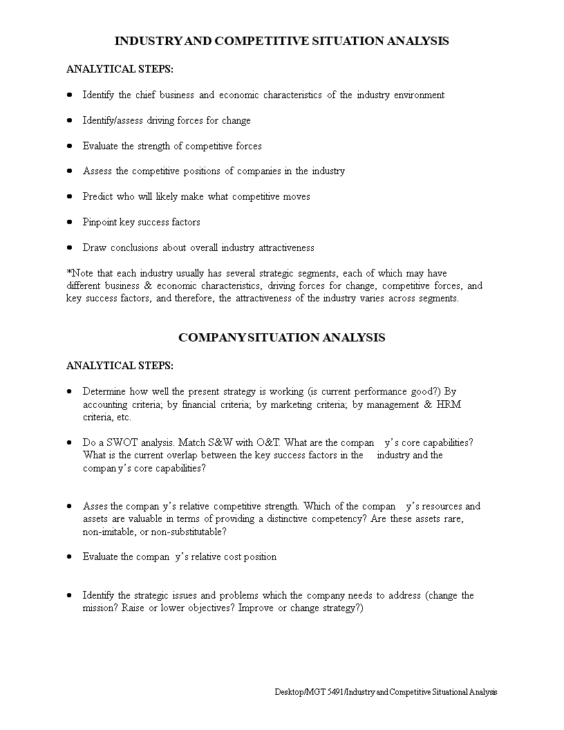 Free Competitive Situation Analysis | Templates at ...