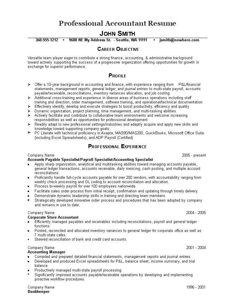 免费Professional Accountant Resume | 样本文件在allbusinesstemplates.com