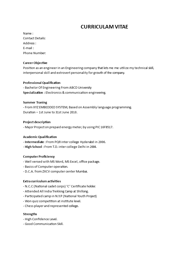 Free Fresher Engineering Resume Format Templates At