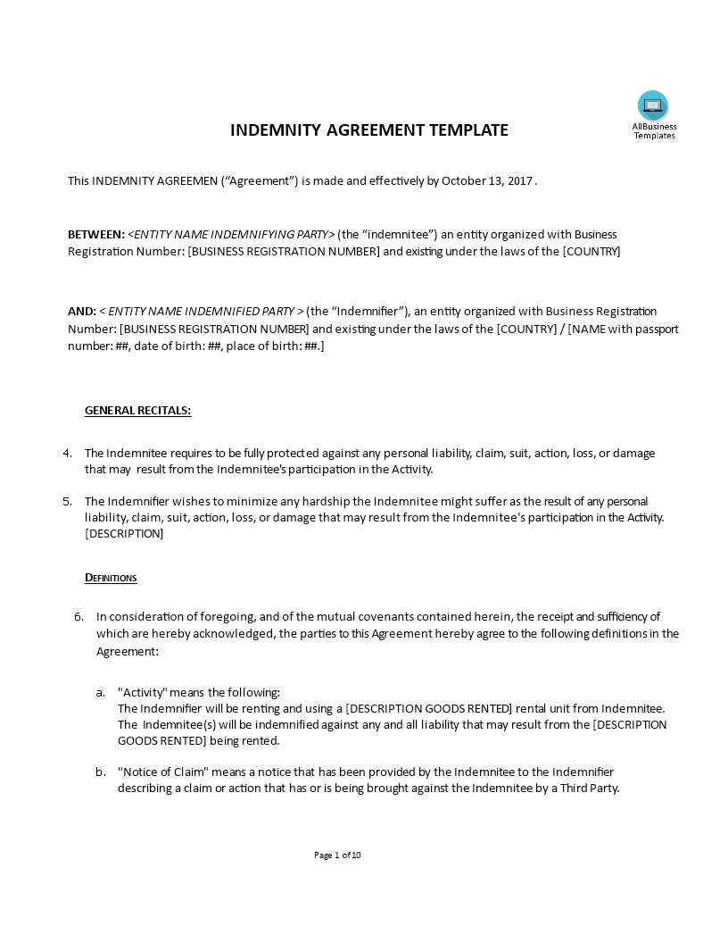 Template Img Main  Indemnity Agreement Template