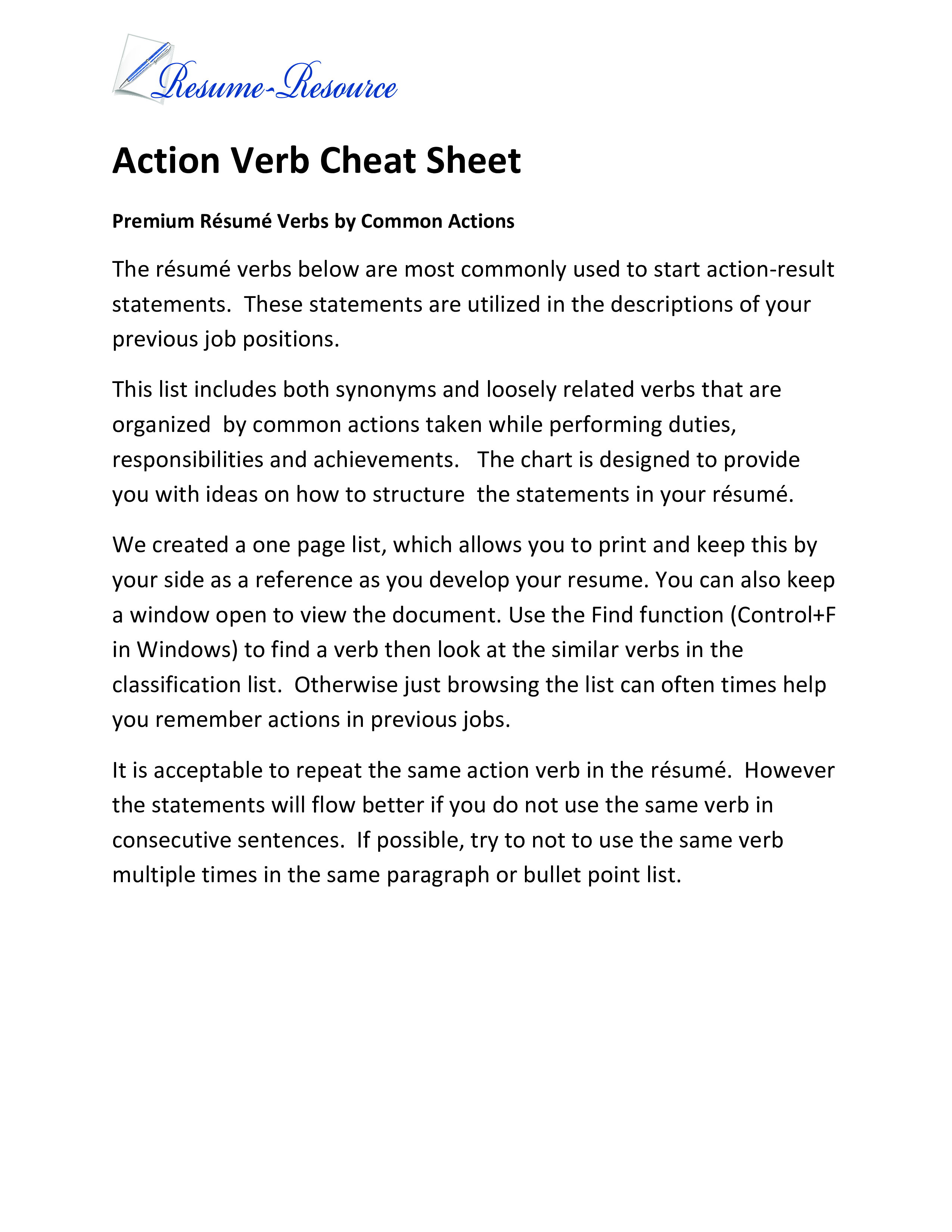 Free Action Verb Cheatsheet Templates At Allbusinesstemplates Com