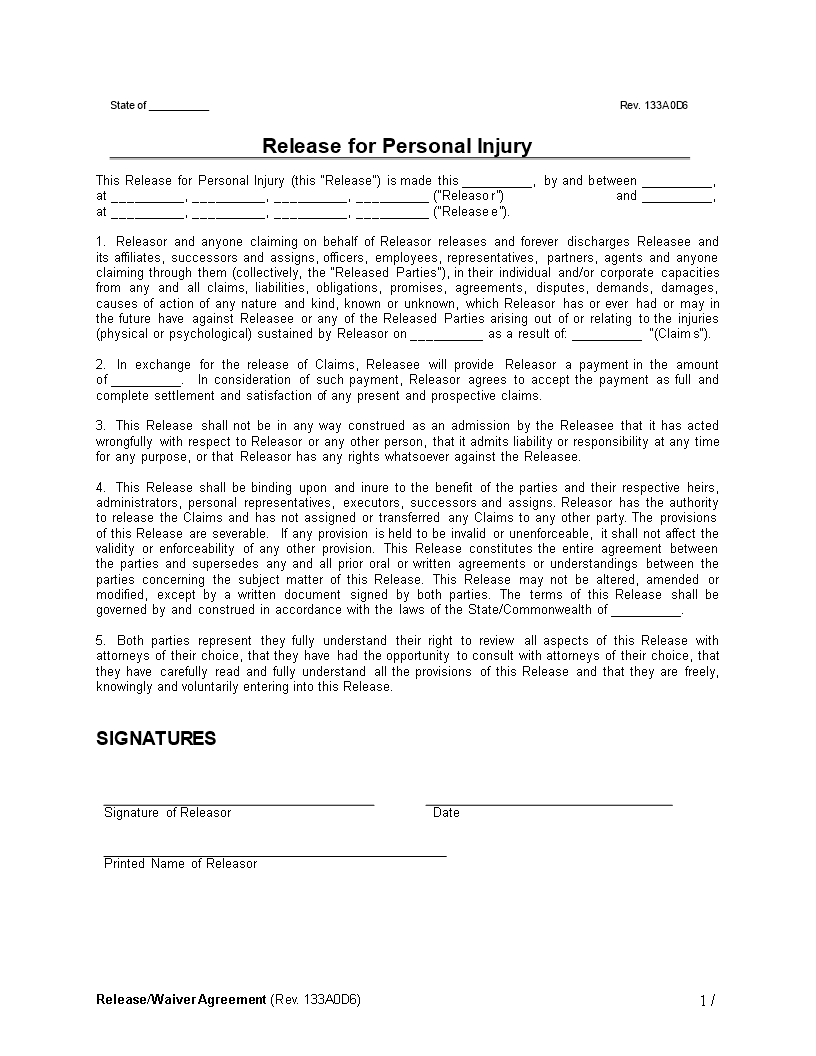 Free Personal Injury Release Waiver Agreement | Templates at ...