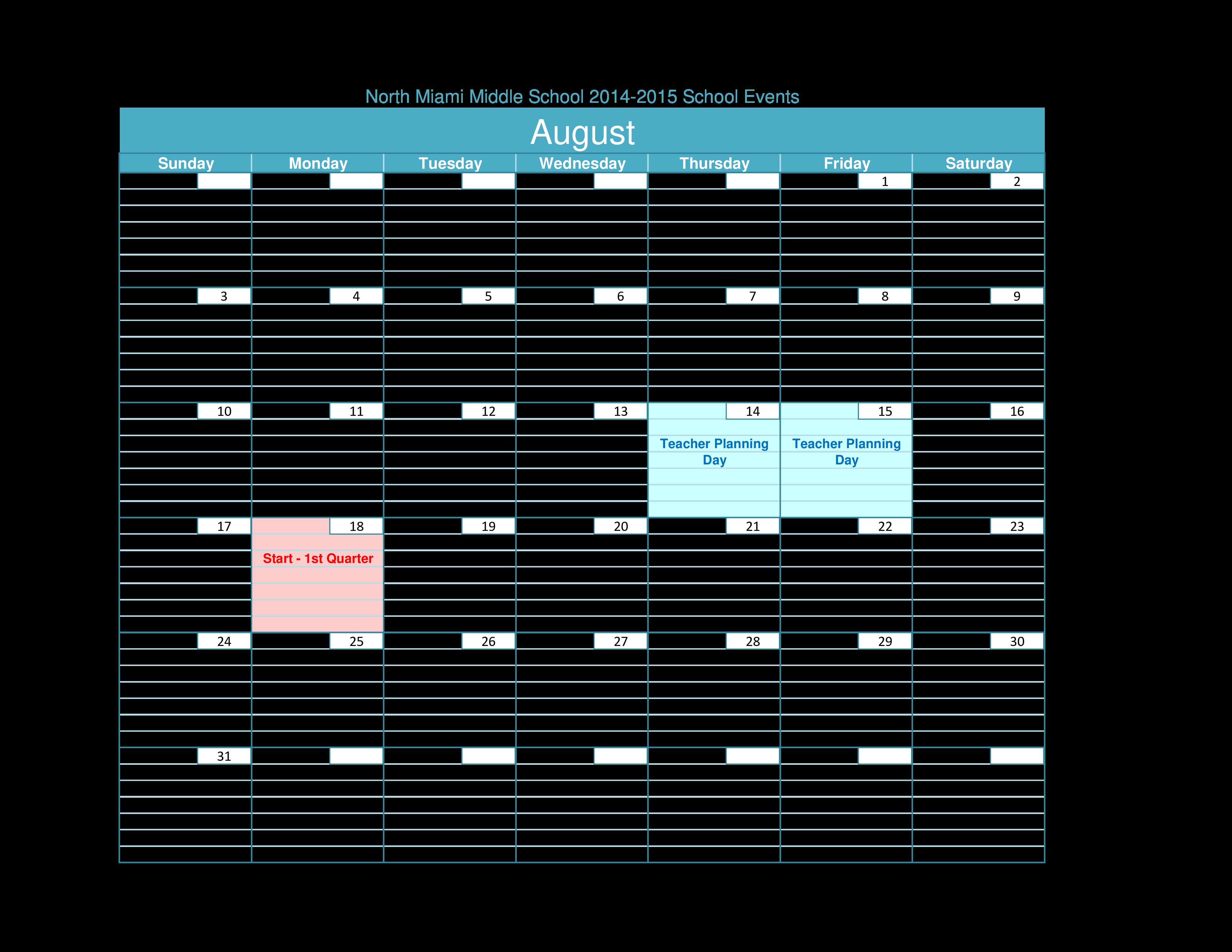 Free Blank Teacher Calendar Planning Templates At