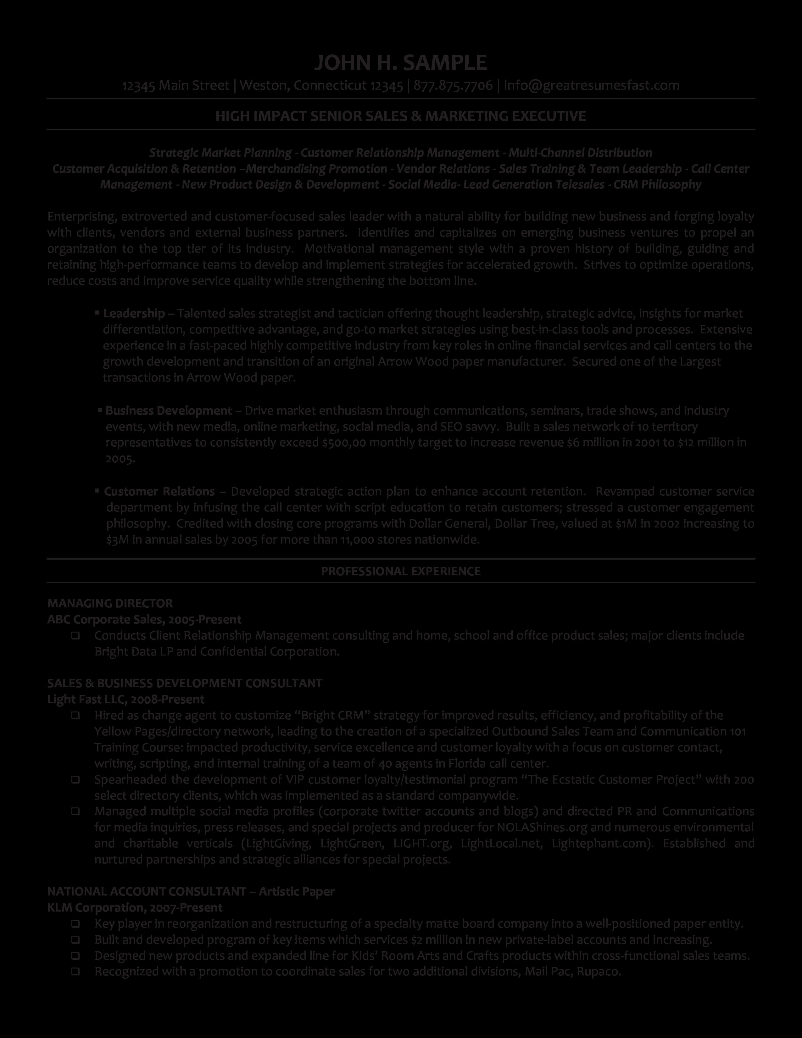 executive managing director resume sample