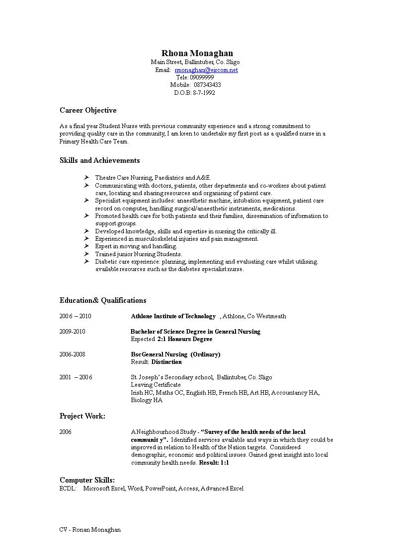 Télécharger Gratuit Nursing Resume Objective