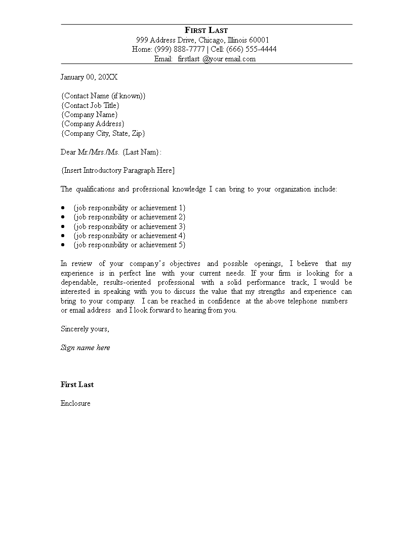 Blank Cover Letter sample | Templates at ...