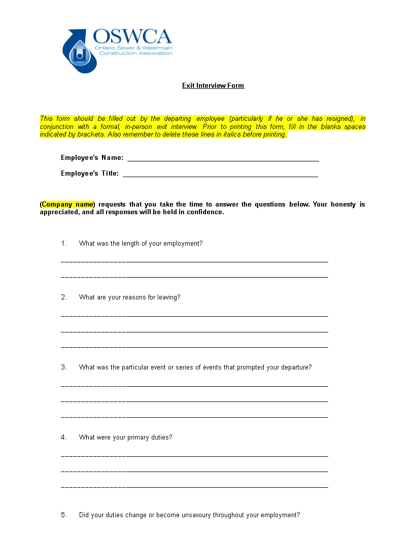 Exit Interview Template | Free Employee Exit Interview Templates At Allbusinesstemplates Com