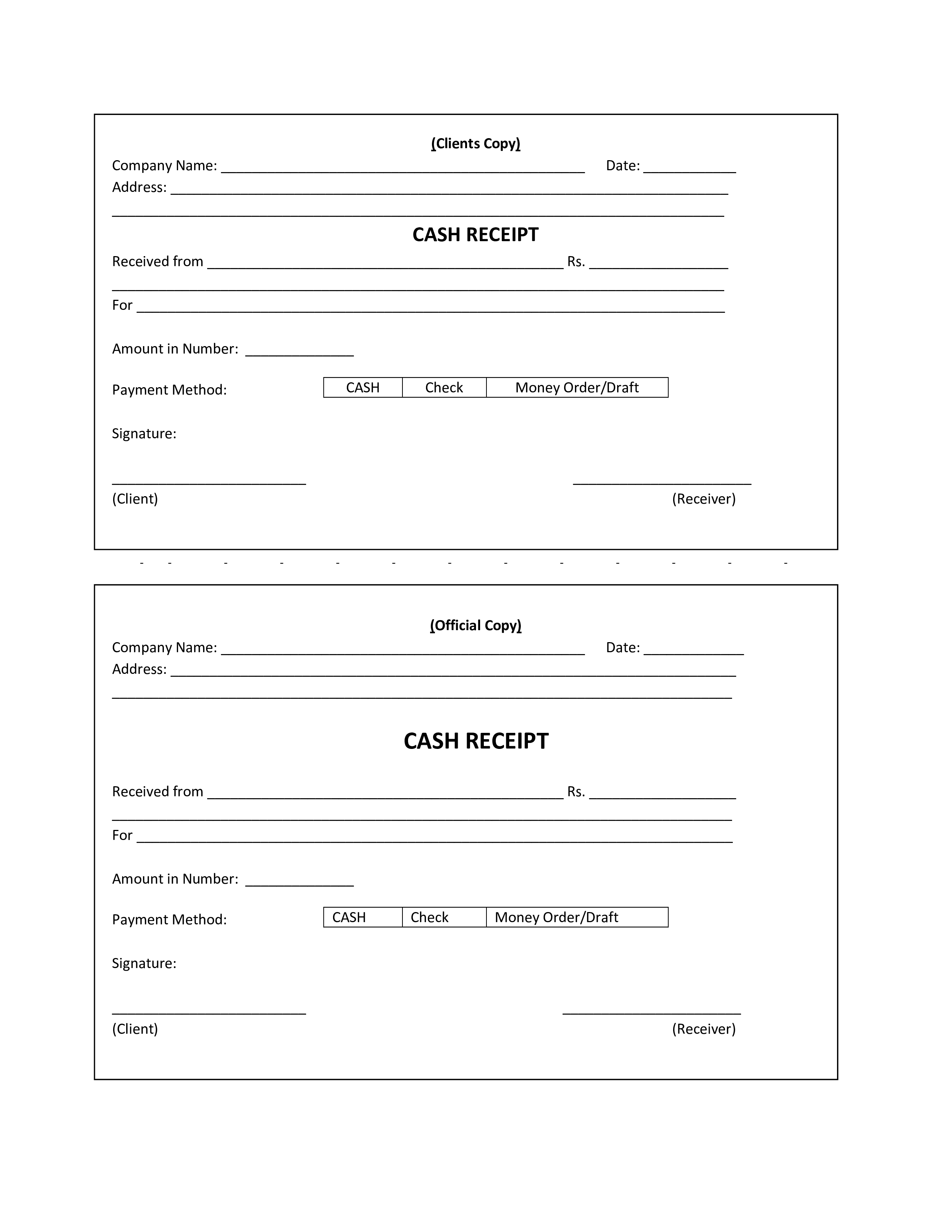 free printable cash receipt templates at