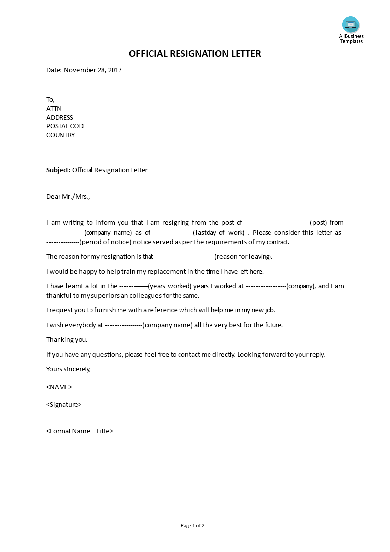 free official resignation letter templates at