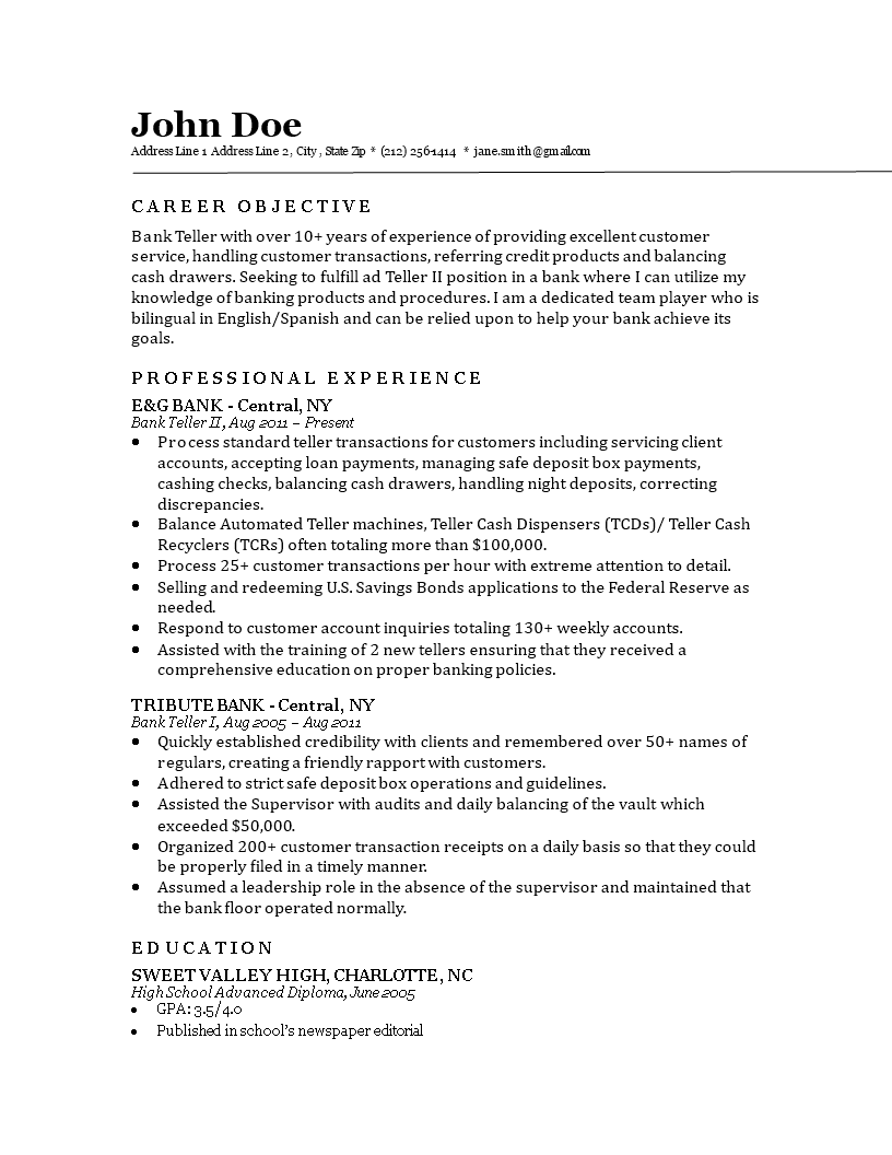 Bank Teller Resume Main Image Download Template