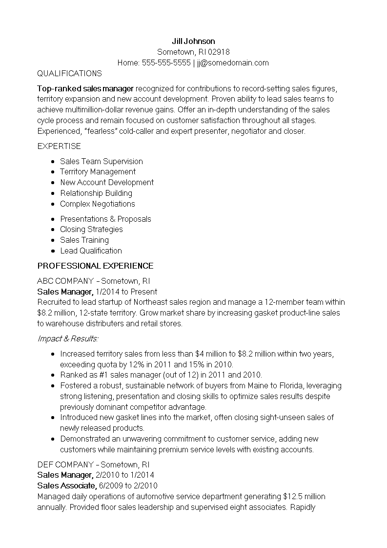 Free Inside Sales Manager Resume | Templates at allbusinesstemplates.com