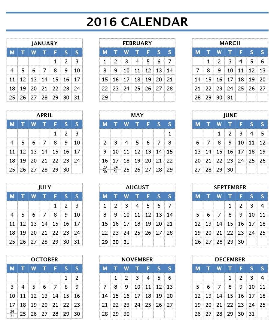 annual calendar portrait in excel main image download template