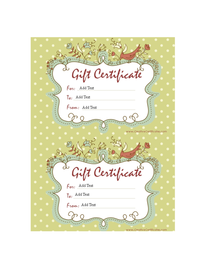 sample gift certificates templates