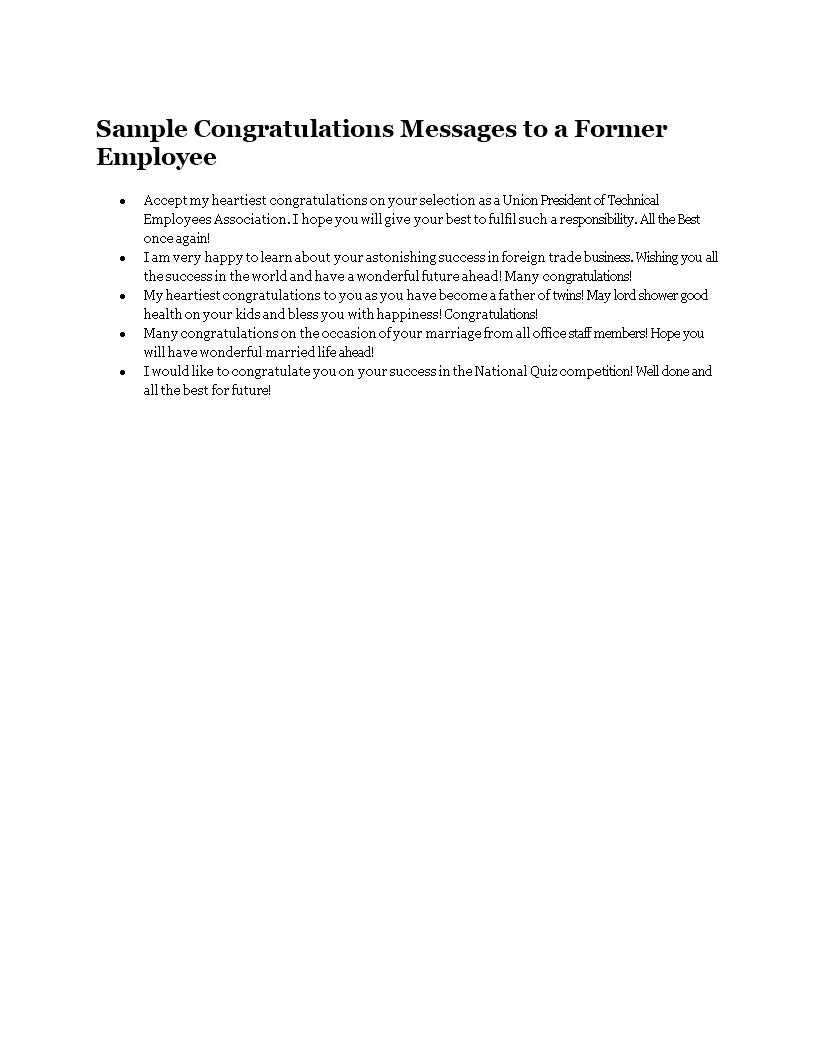 Sample Congratulations Messages To A Former Employee main image