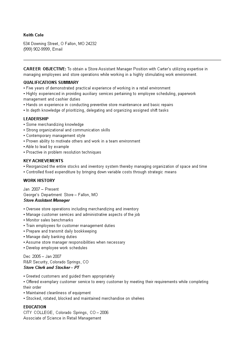 assistant store manager resume template  templates at