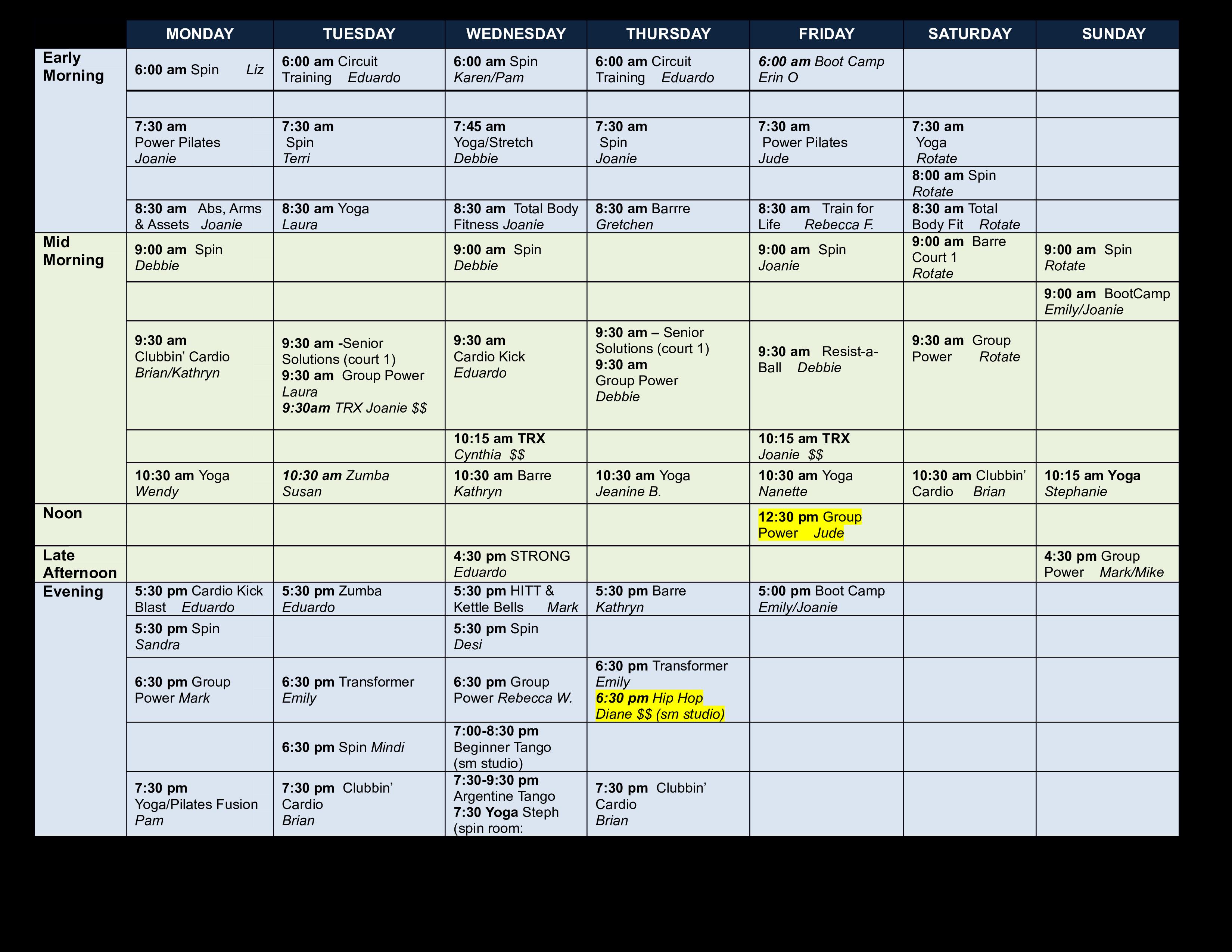 Free Group Fitness Calendar Templates At Allbusinesstemplates